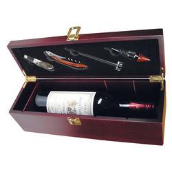 Mahogany Wine Box with Service Set