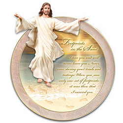 Footprints in the Sand Collector Plate with Sculpted Jesus Figure
