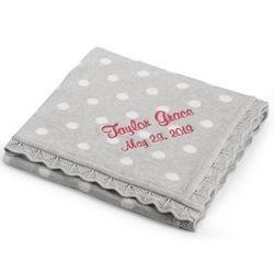 Girl's Grey Knit Polka Dot Blanket