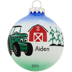 Personalized Tractor and Barn Glass Ball Ornament