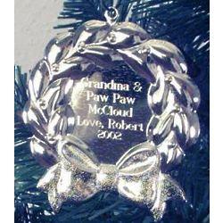Personalized Silvertone Wreath Ornament
