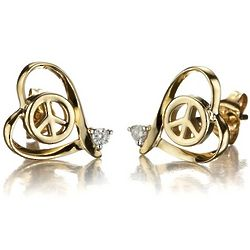 14k Gold Heart and Peace Sign Stud Earrings with Diamond Accents