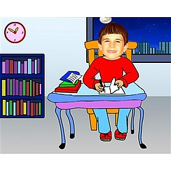 Your Photo in a Doing Homework (Boy) Caricature