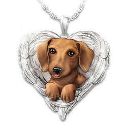 Dachshunds Are Angels Heart Shaped Engraved Pendant Necklace