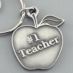 Engraved #1 Teacher Pewter Keyring