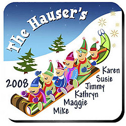Personalized Elves Family Coaster Set