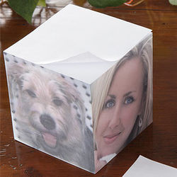 Personalized 4 Photo Note Pad Cube