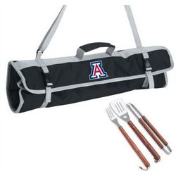 Arizona Wildcats Stainless Steel 3 Piece BBQ Set with Black Tote