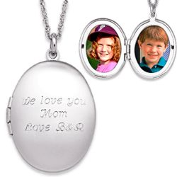 Engraved Oval Photo Locket Necklace