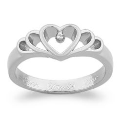 Diamond Heart Engraved Message Promise Ring