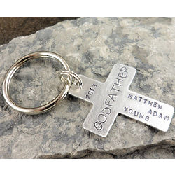 Personalized Godfather Cross Hand Stamped Keychain