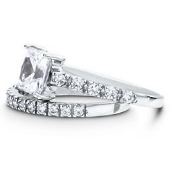 Sterling Silver Princess Cubic Zirconia Solitaire Ring Set