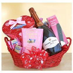 Sparkling Wine and Chocolate Valentne Basket