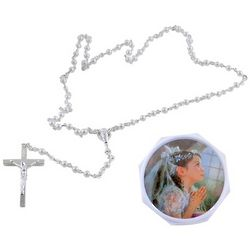 Girl's First Communion Rosary with Case
