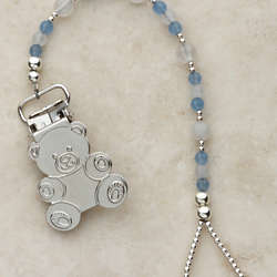 Sterling Silver Teddy Bear Binky and Pacifier Clip