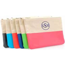 Color Dipped Personalized Canvas Clutch