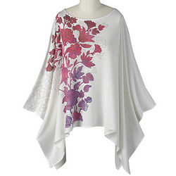 Floral Impressions Knit Poncho