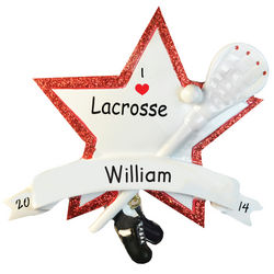 Personalized Lacrosse Star Glittered Christmas Ornament
