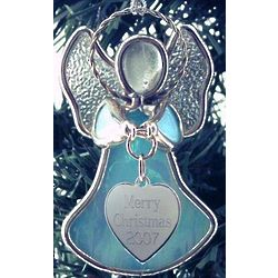 Engravable Stained Glass Angel Ornament