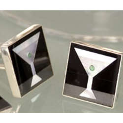 Inlaid Martini Cuff Links