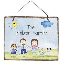Personalized Family of Characters Slate Plaque
