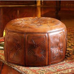 Nazca Legacy Tooled Leather Ottoman Cover