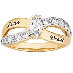 Couple's Marquise Cubic Zirconia Name Ring
