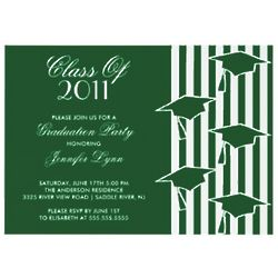 Green and White Grad Hats Graduation Invitation