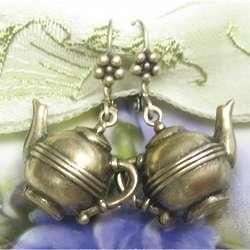 Antiqued Replica Brass Teapot Earrings