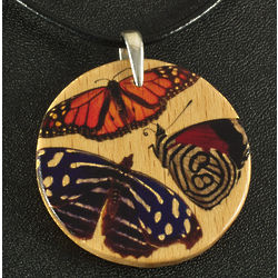Wood Pendant with Butterflies