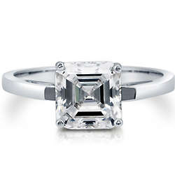 Sterling Silver Asscher Cut Cubic Zirconia Ring