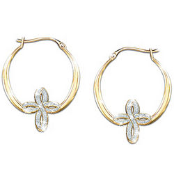 Infinity Crystal Cross Earrings with 24K Gold Plating