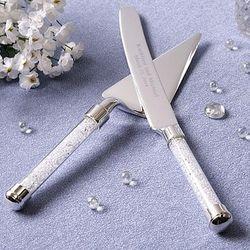 Personalized Rhinestone Handle Cake Knife and Server Set