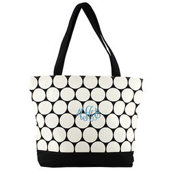 Personalized Black Canvas Polka Dot Tote