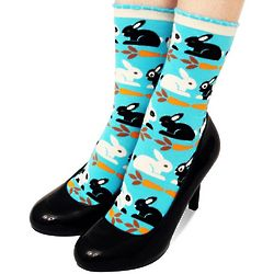 Rabbits and Carrots Sky Blue Crew Socks