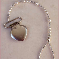 Sterling Silver Heart Binky and Pacifier Clip