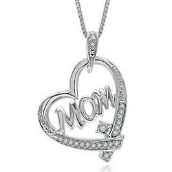 Diamond Mom Heart Pendant in Sterling Silver