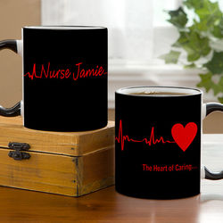 Heart of Caring Personalized Black Handled Coffee Mug