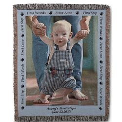 Portrait Baby Photo Blanket with Blue Border