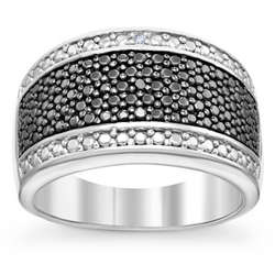 Sterling Silver Black and White Diamond Accent Band