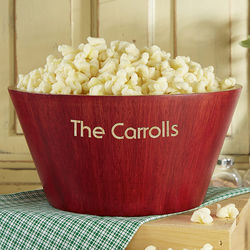 Personalized Bamboo Red Popcorn Bowl