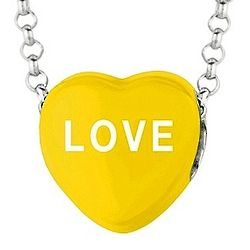 Yellow Enamel Love Sweethearts Candy Necklace in Sterling Silver