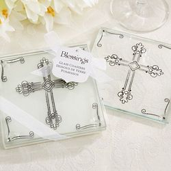 Decorative Glass Cross Coasters
