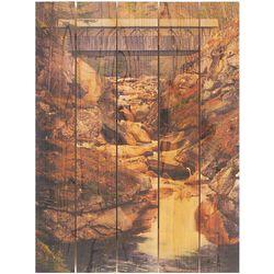 Handmade Covered Bridge Over Waterfall Wall Art