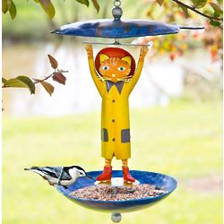 Fisherman Cat Metal Bird Feeder