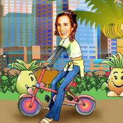 Your Photo in a Riding Bicycle (Girl) Caricature