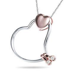 Diamond Two Tone Heart-In-Heart Pendant