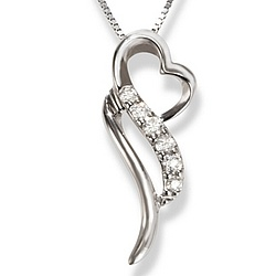 Abstract Heart Diamond Promise Pendant in 14k White Gold