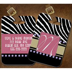 Personalized Zebra Luggage Tag