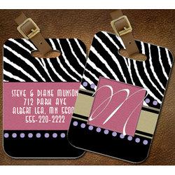 Personalized Zebra Luggage Tag